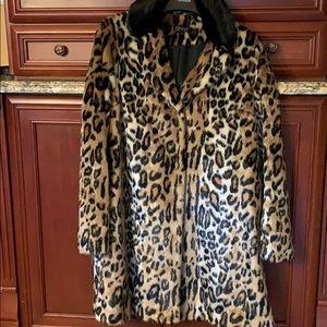 Top Shop faux fur leopard coat